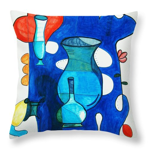 Abstract Throw Pillow featuring the painting Vases by Venus