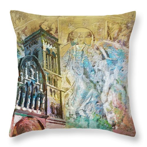 Western Ghats Throw Pillow featuring the painting Vezelay Church And Hill by Catf