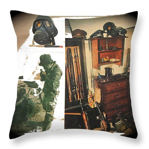Viet Nam Medic Barry Sadler Weapons Collection Nazi Memorabilia Collage Tucson Arizona 1971 Throw Pillow featuring the photograph Viet Nam Medic Barry Sadler Weapons Collection Nazi Memorabilia Collage Tucson Arizona 1971-2013 by David Lee Guss