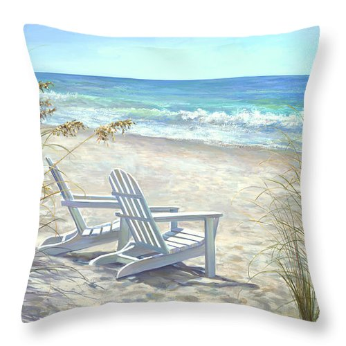 Beaches Throw Pillow featuring the painting View for two. by Laurie Snow Hein