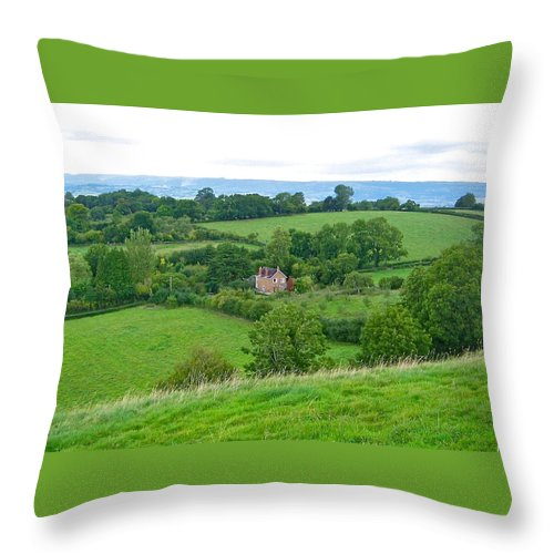 Landscape Throw Pillow featuring the photograph View From Glastonbury Tor by Denise Mazzocco