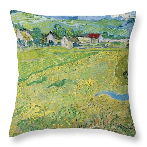 1890 Throw Pillow featuring the painting View Of Vessenots Near Auvers by Vincent van Gogh