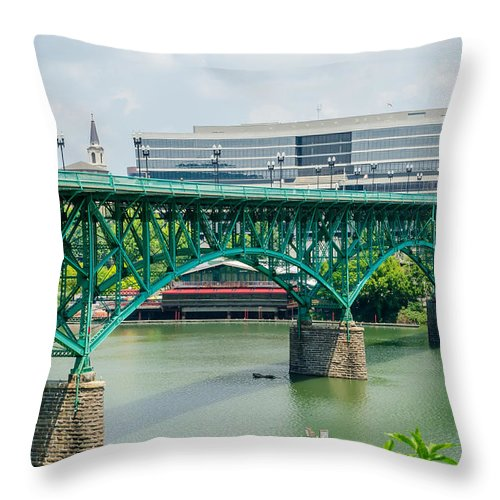 Views Of Knoxville Tennessee Downtown On Sunny Day Throw Pillow For Sale By Alex Grichenko
