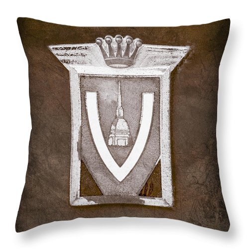 Vignale Emblem Throw Pillow featuring the photograph Vignale Emblem by Jill Reger