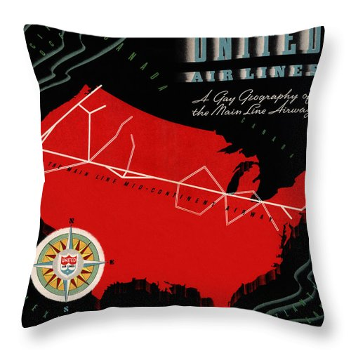 Airplane Throw Pillow featuring the photograph Vintage Airline Ad 1939 by Andrew Fare