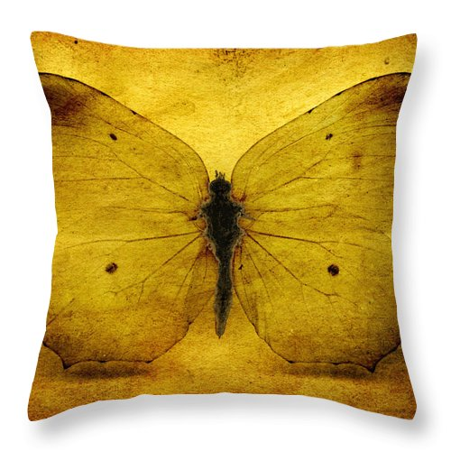 Butterfly Throw Pillow featuring the digital art Vintage Grunge Butterfly by Steve Ball