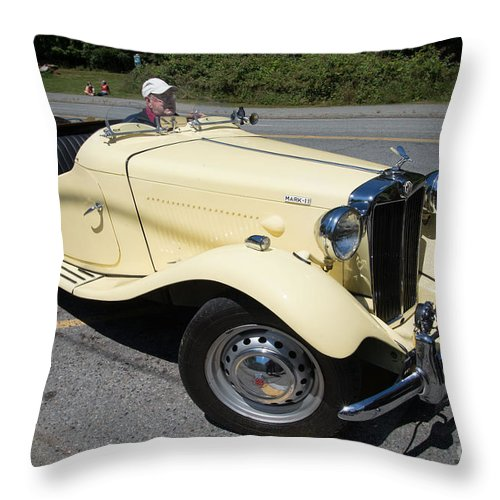 Bowen Island Throw Pillow featuring the digital art Vintage Mg by Carol Ailles