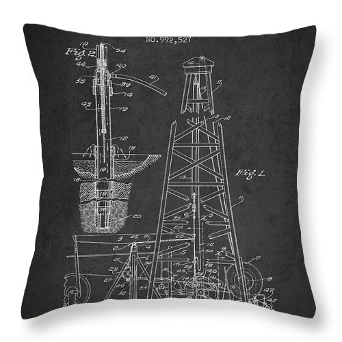 Oil Throw Pillow featuring the digital art Vintage Oil Drilling Rig Patent From 1911 by Aged Pixel