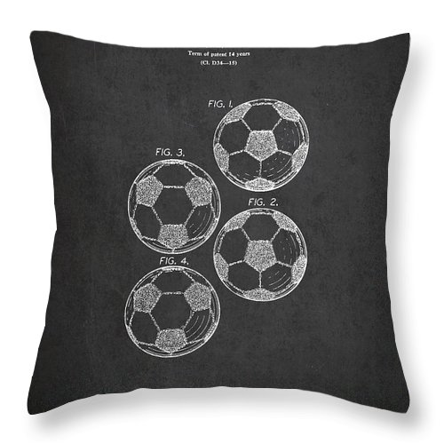 Soccer Throw Pillow featuring the digital art Vintage Soccer Ball Patent Drawing from 1964 by Aged Pixel