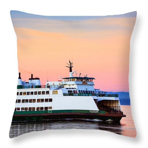America Throw Pillow featuring the photograph Washington State Ferry by Inge Johnsson