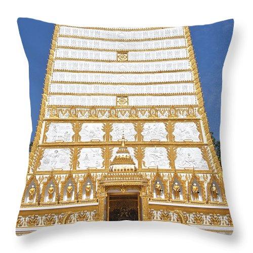 Scenic Throw Pillow featuring the photograph Wat Nong Bua Main Stupa Base Dthu453 by Gerry Gantt