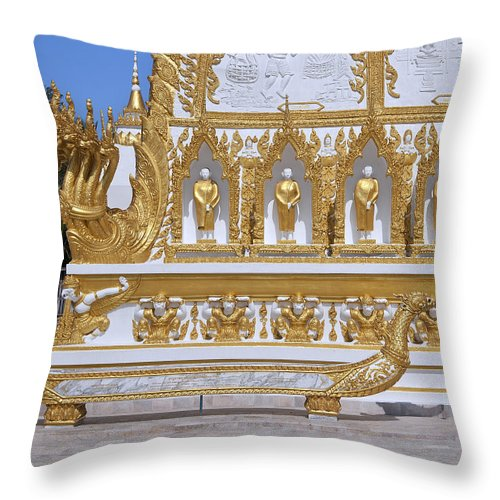 Scenic Throw Pillow featuring the photograph Wat Nong Bua West Side Of Main Stupa Base Dthu447 by Gerry Gantt