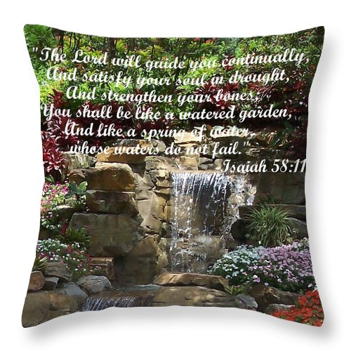 Inspirational Throw Pillow featuring the photograph Watered Garden by Pharris Art