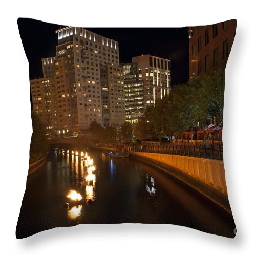2014 Waterfire Providence Throw Pillow featuring the photograph Waterfire. Providence Rhode Island by Juli Scalzi