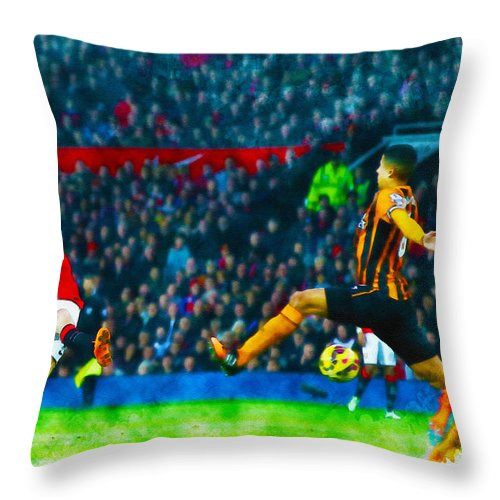 English Throw Pillow featuring the digital art Wayne Rooney Of Manchester United Scores Their Second Goal by Don Kuing