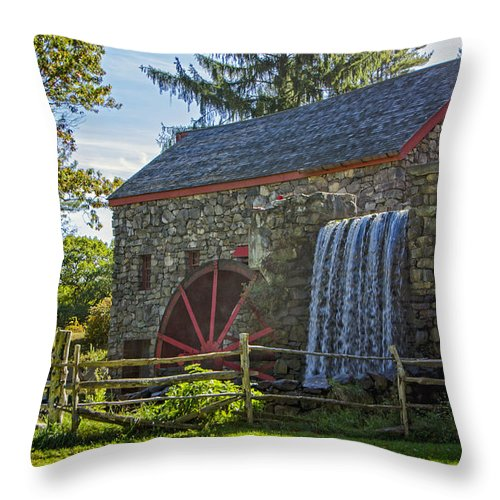 Grist Mill Throw Pillow featuring the photograph Wayside Inn Grist Mill by Donna Doherty