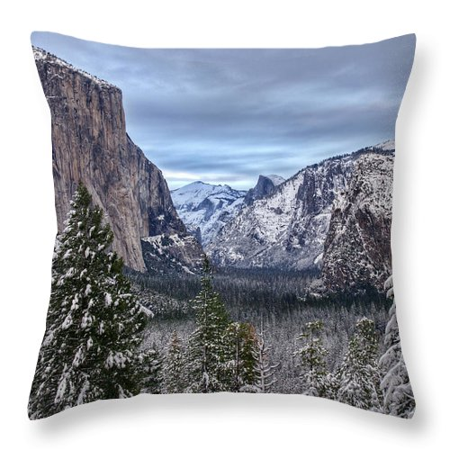 Yosemite Throw Pillow featuring the photograph Welcome To Yosemite by Eric Bjerke Sr