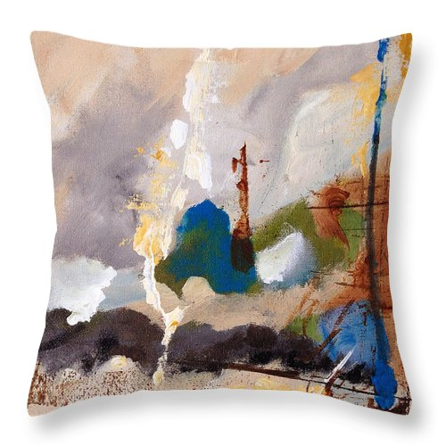 Abstract Throw Pillow featuring the painting Wharf by Ruth Palmer