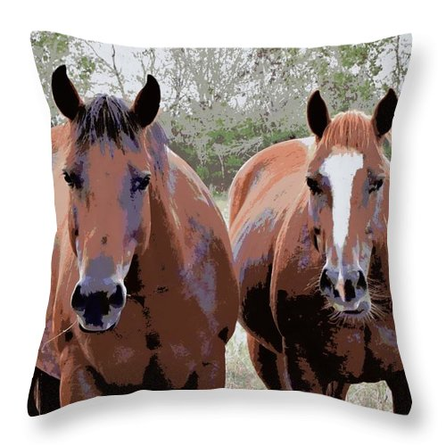 Bay Quarter Horse Throw Pillow featuring the photograph What Are You Looking At by Sherri McCollum