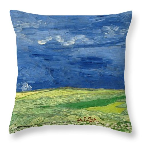 1890 Throw Pillow featuring the painting Wheatfield Under Thunderclouds by Vincent van Gogh