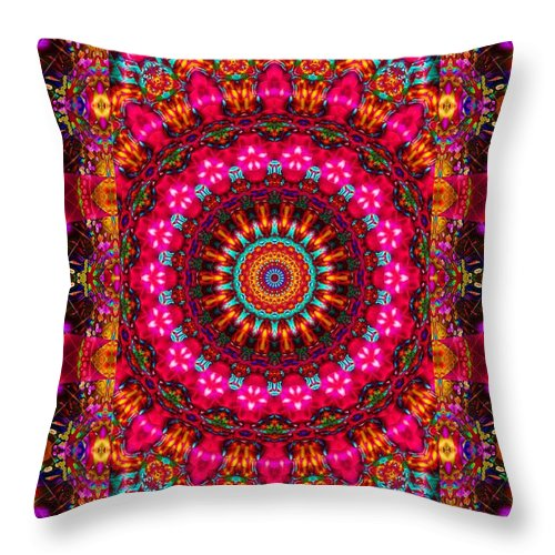 Red Throw Pillow featuring the digital art When She Shines by Robert Orinski