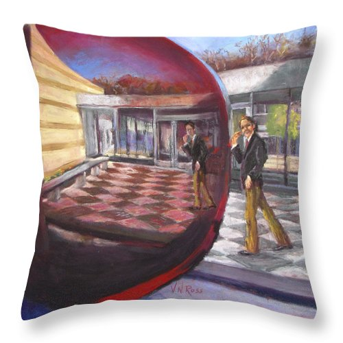 Robert Louis Stevenson Throw Pillow featuring the painting Where's Robert by Vicki Ross