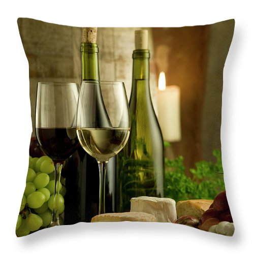 Cheese Throw Pillow featuring the photograph White And Red Wine In A French Style by Kontrast-fotodesign