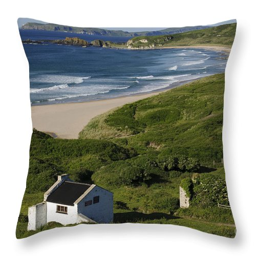 County Antrim Throw Pillow featuring the photograph White Park Bay, Ireland by John Shaw
