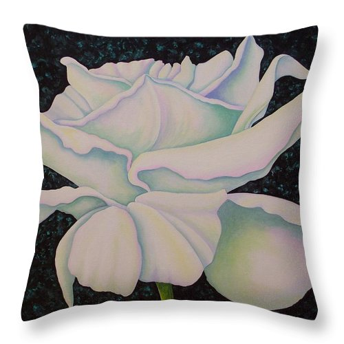 Acrylic Throw Pillow featuring the painting White Rose by Carol Sabo