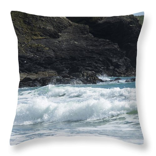 Cornish Seascape Throw Pillow featuring the photograph White Surf by Brian Roscorla