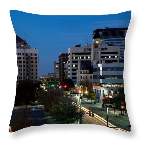 Albert Paley Throw Pillow featuring the photograph Wichita Skyline At Dusk From Waterwalk by Bill Cobb