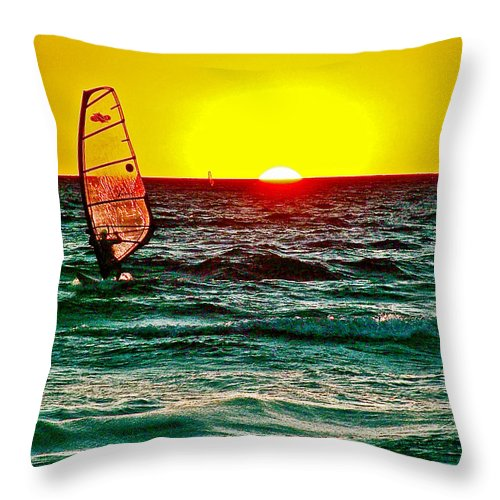 Windsurfer At Sunset On Lake Michigan From Empire Throw Pillow featuring the photograph Windsurfer At Sunset On Lake Michigan From Empire-michigan by Ruth Hager