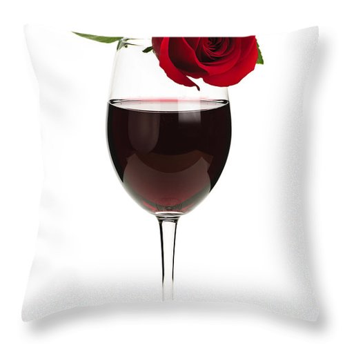 Wine Throw Pillow featuring the photograph Wine With Red Rose by Elena Elisseeva