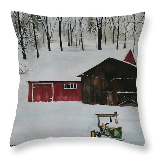 Winter Throw Pillow featuring the painting Winter Solitude by Jean Blackmer