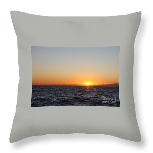 Winter Sunrise Over The Ocean Throw Pillow featuring the photograph Winter Sunrise Over The Ocean by John Telfer