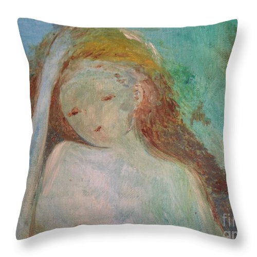 Woman Throw Pillow featuring the painting Woman Of Sorrows by Laurie Lundquist