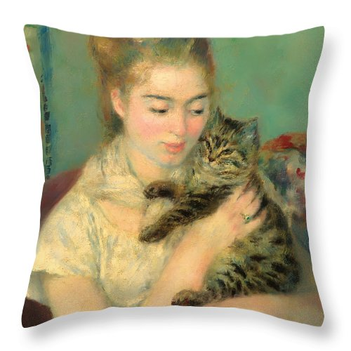 Woman Throw Pillow featuring the painting Woman With A Cat by Mountain Dreams