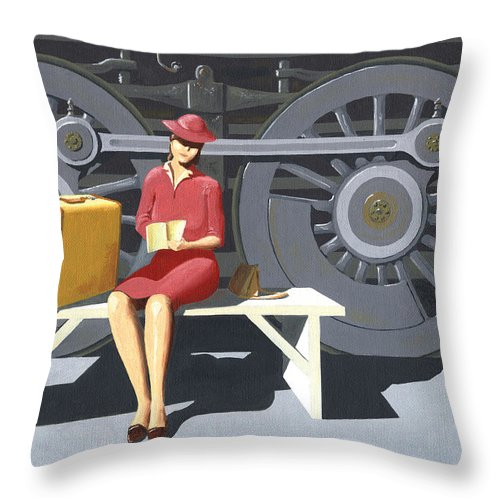 Woman Throw Pillow featuring the painting Woman With Locomotive by Gary Giacomelli