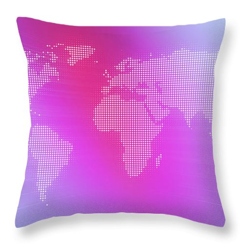 Curve Throw Pillow featuring the digital art World Map In Dots Against An Abstract by Ralf Hiemisch