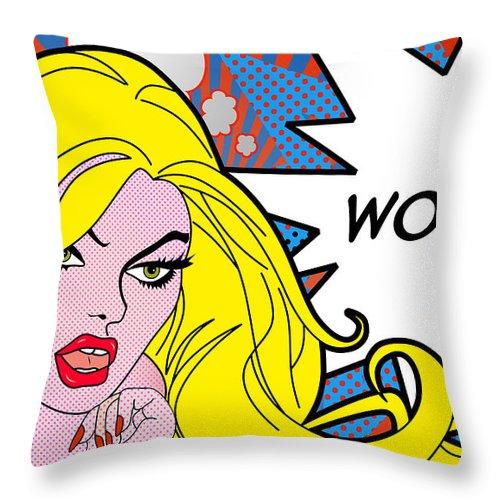Wonder Woman Throw Pillow featuring the digital art wow by Mark Ashkenazi