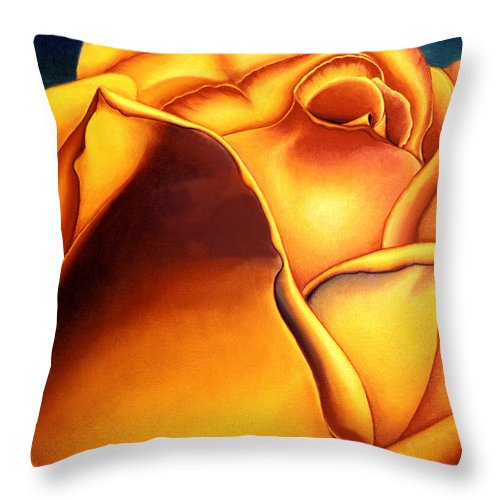 Flowers Throw Pillow featuring the painting Yellow Rose by Anni Adkins