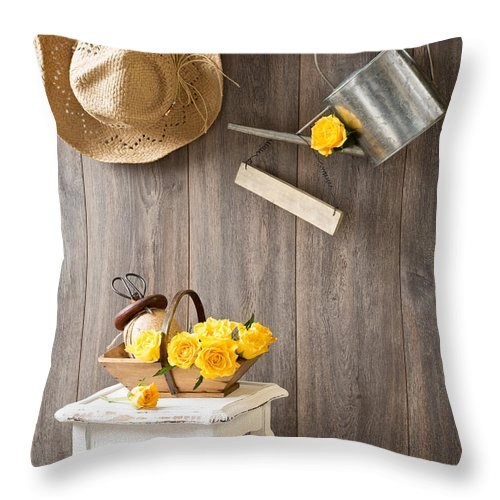 Yellow Throw Pillow featuring the photograph Yellow Roses by Amanda Elwell