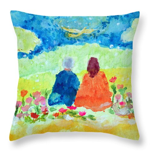 Throw Pillow featuring the painting Yogananda And Swami Kriyananda by Ashleigh Dyan Bayer