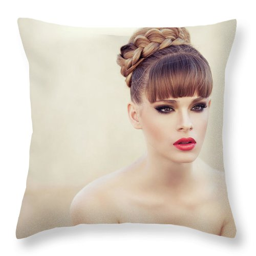 People Throw Pillow featuring the photograph Young Beautiful Woman by Coffeeandmilk