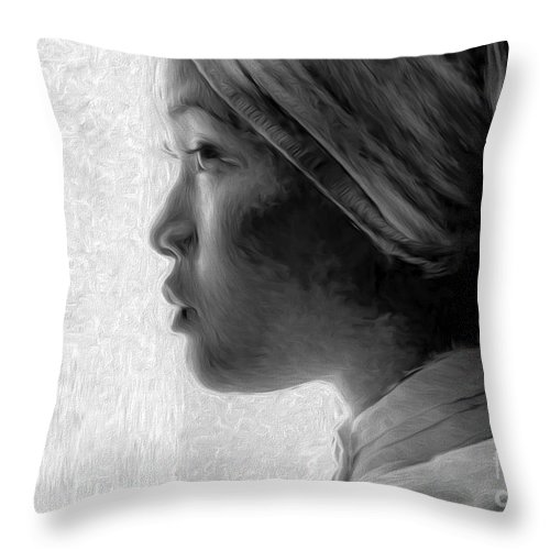 Young Woman Throw Pillow featuring the photograph Young Woman In Turban by Sheila Smart Fine Art Photography