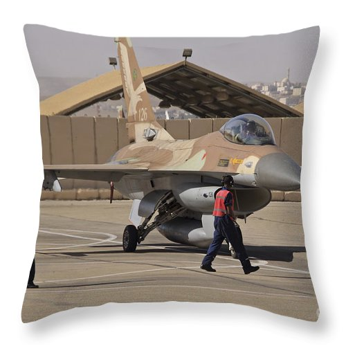 Aircraft Throw Pillow featuring the photograph An F-16a Netz Of The Israeli Air Force by Ofer Zidon