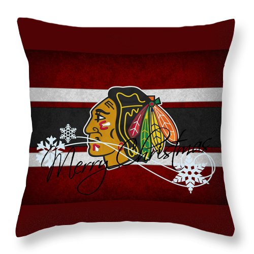 Blackhawks Throw Pillow featuring the photograph Chicago Blackhawks by Joe Hamilton
