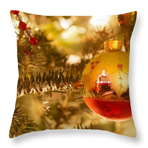 Artificial Throw Pillow featuring the photograph Christmas Tree Ornaments by Alex Grichenko