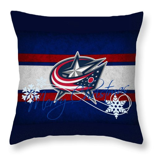 Blue Jackets Throw Pillow featuring the photograph Columbus Blue Jackets by Joe Hamilton