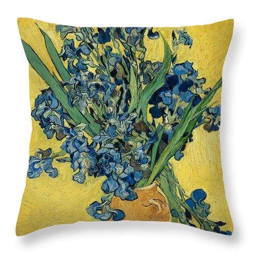 1890 Throw Pillow featuring the painting Irises by Vincent van Gogh